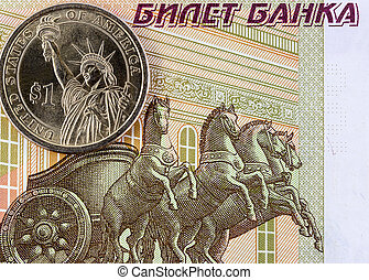 One US dollar and one hundred rubles