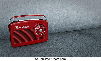 one vintage radio in a dirty room (3d render)