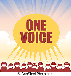 Several figures declaring one voice in unison.