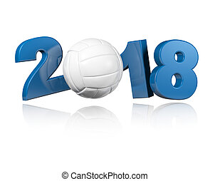 One Volleyball 2018 Design with a white Background