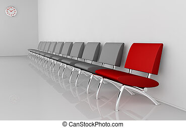waiting room - one waiting room with a row of chairs and one...