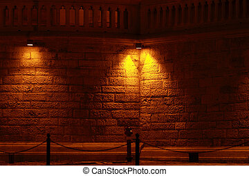 Buda castle - One wall of the Buda castle at night