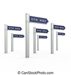 One way. 3d isolated on white