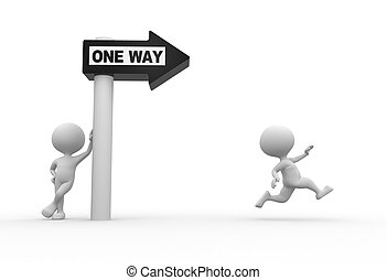 """One way - 3d people - man, person with road sign and word """"..."""