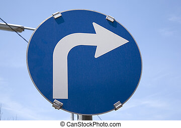 One Way Blue and White Traffic Sign
