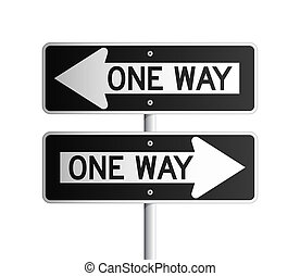 Two Isolated One Way black and white rectangular board, both sides