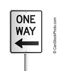 Isolated One Way black and white rectangular board