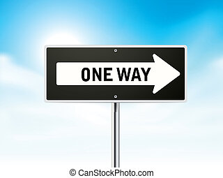 one way on black road sign isolated over sky