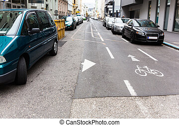 one way - one-way street, particularly marked lane for...