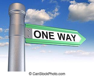 One way road sign. 3d render illustration