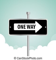 One way road sign advertising design, vector illustration eps 10