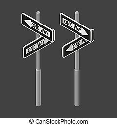 One way road sign. Vector isometric illustration