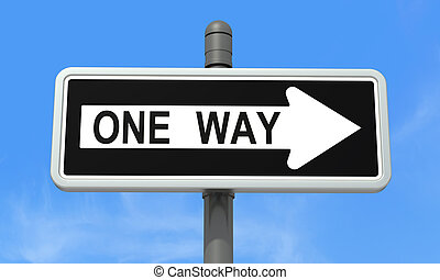 One-way sign against blue sky - rendering
