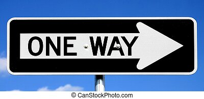 One Way Sign - Black and white US Style one-way traffic sign...
