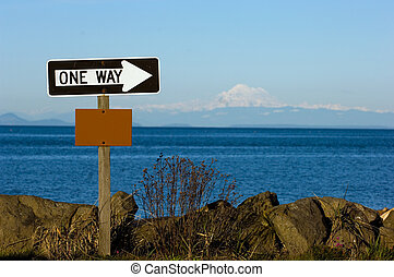 One way sign - Blank sign at the beach