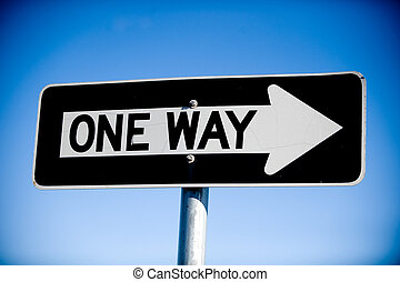 One Way Sign - Image of a one way street sign