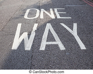 One way sign in the street