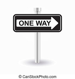one way sign - one way road sign