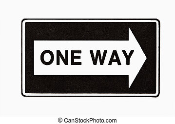 One way sign. - One way road sign sign on white background.