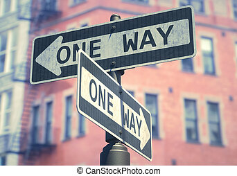 One Way Sign - 3D illustration. Conceptual image of one-way...