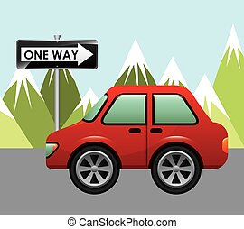 one way signal design, vector illustration eps10 graphic