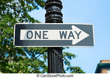 One way street sign in New York, blue sky