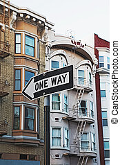 One Way street sign in San Francisco city, USA
