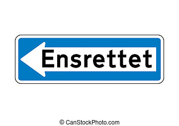 One way traffic road sign in Denmark