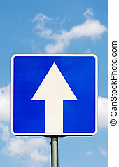 One-Way traffic road sign.