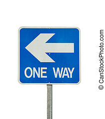 one way traffic sign isolated