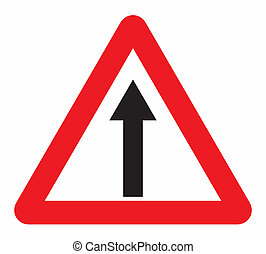 one way traffic sign on isolated background