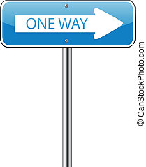 One way traffic sign on white