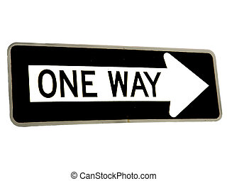 One Way Traffic Signs on the white background
