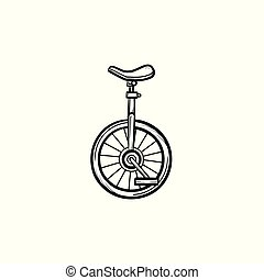 One wheel bicycle hand drawn sketch icon.