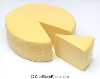 cheese - one wheel round cheese with one slice