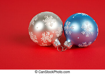 One white and blue Christmas ball