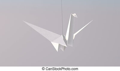 """One White Paper Crane"" - ""An artistic 3d rendering of a..."