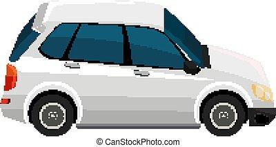 One white SUV car on white background