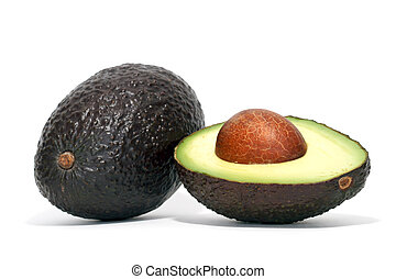 One whole and half avocado on white
