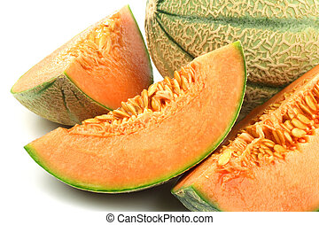 cantaloupe melon - one whole cantaloupe melon and some...