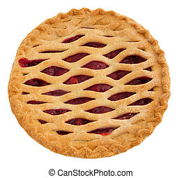 whole cherry pie - one whole cherry pie over white. top down...