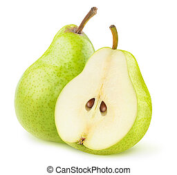 One whole green pear and a half isolated on white background