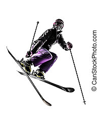 one caucasian woman skier freestyler jumping in silhouette on white background