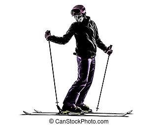 one woman skier skiing silhouette - one woman skier skiing...