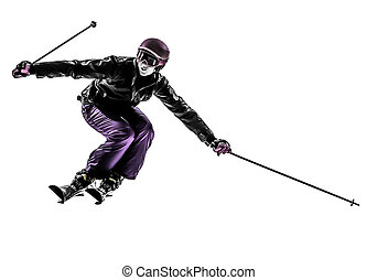 one woman skier skiing slaloming silhouette - one caucasian...