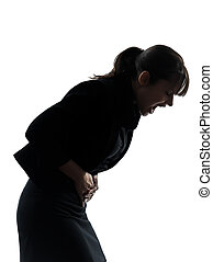 woman stomach pain cramp silhouette - one woman stomach pain...
