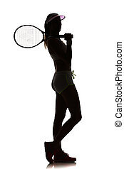 one woman tennis player in studio silhouette isolated