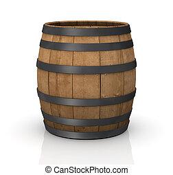 one wooden barrel on white background (3d render)