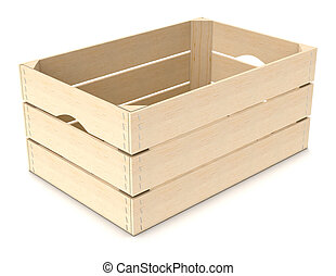 one wooden crate on white background (3d render)