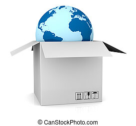 shipping everywhere - one world globe coming out of a carton...